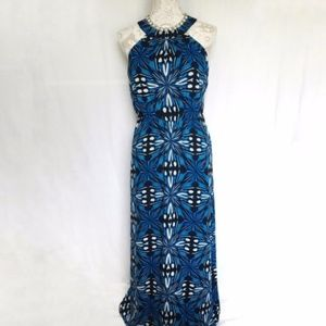 Outback Red // Blue Print High Neck Maxi Dress M